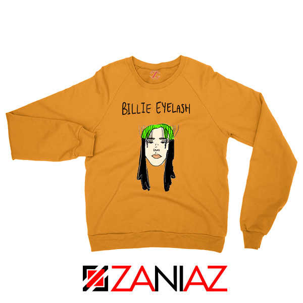 Billie Eyelash Sweatshirt Funny Orange Songwriter