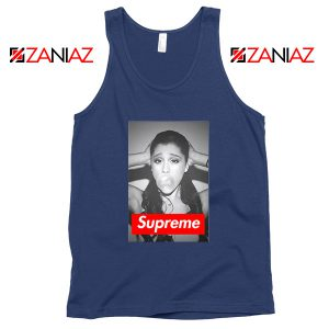 Graphic Ariana Grande Supreme Parody Navy Blue Tank Top