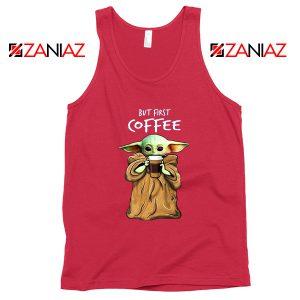 Mandalorian Coffee Baby Yoda Red Tank Top