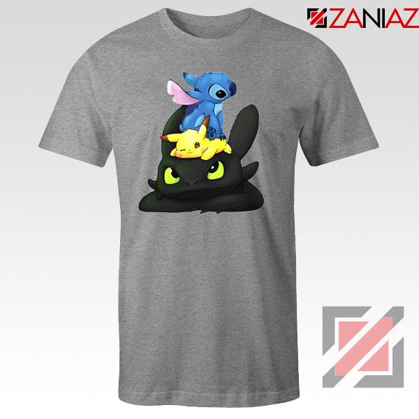 Stitch Pokemon Grinch Grey Tshirt