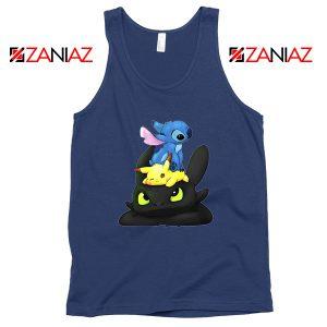 Stitch Pokemon Grinch Navy Blue Tank Top