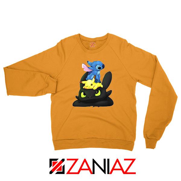 Stitch Pokemon Grinch Orange Sweatshirt