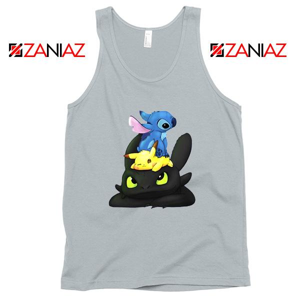 Stitch Pokemon Grinch Sport Grey Tank Top