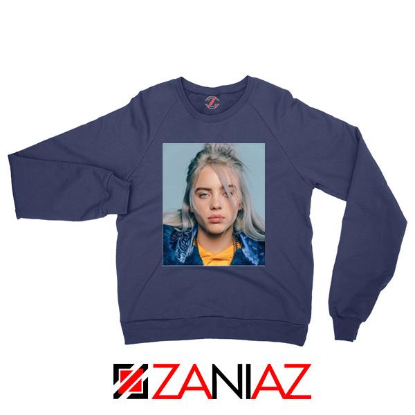 Billie Eilish Girl Star Navy Blue Sweatshirt