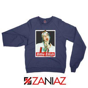 Billie Eilish Womens Navy Blue Sweatshirt