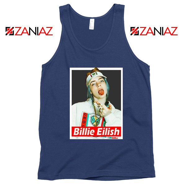 Billie Eilish Womens Navy Blue Tank Top