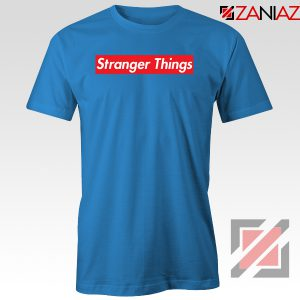 Cheap Stranger Things Supreme Parody Blue Tshirt