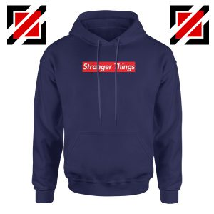 Cheap Stranger Things Supreme Parody Navy Blue Hoodie