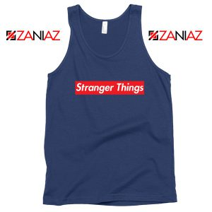 Cheap Stranger Things Supreme Parody Navy Blue Tank Top