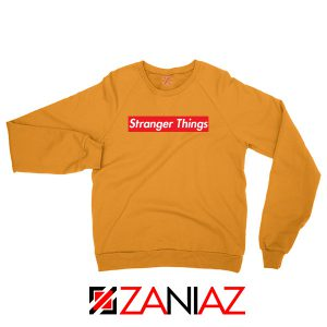 Cheap Stranger Things Supreme Parody Orange Sweater