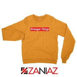 Cheap Stranger Things Supreme Parody Orange Sweater