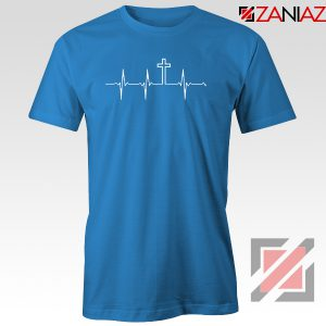 My Heartbeat Is The Cross Blue Tshirt