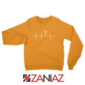 My Heartbeat Is The Cross Orange Sweatshirt