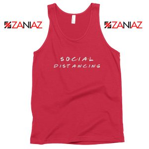 Social Distancing Friends Red Tank Top
