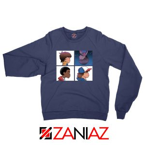 Stranger Things Characters Navy Blue Sweater