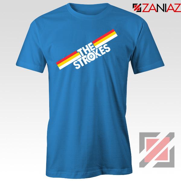 The Strokes Striped Graphic Blue Tshirt