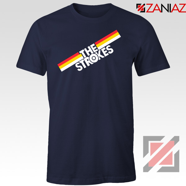 The Strokes Striped Graphic Navy Blue Tshirt