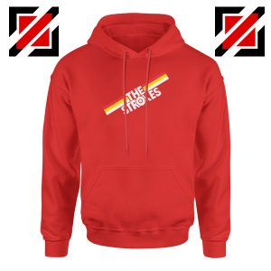 The Strokes Striped Graphic Red Hoodie