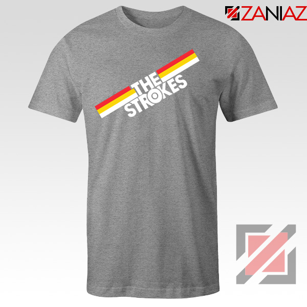 The Strokes Striped Graphic Sport Grey Tshirt