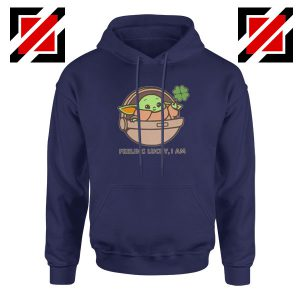 Baby Yoda Feeling Lucky Navy Blue Hoodie