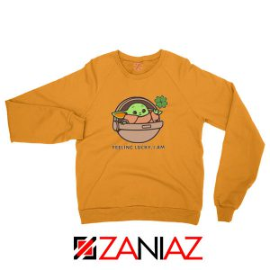 Baby Yoda Feeling Lucky Orange Sweatshirt