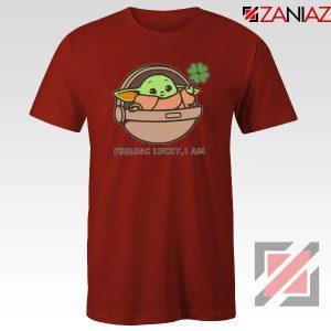 Baby Yoda Feeling Lucky Red Tshirt