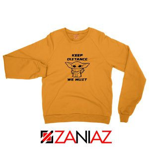 Baby Yoda Keep Distance Orange Sweatshirt