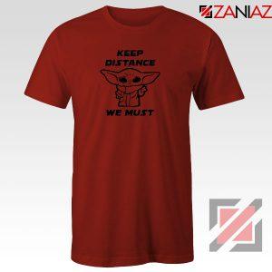 Baby Yoda Keep Distance Red Tshirt