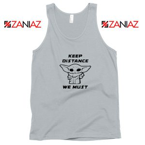 Baby Yoda Keep Distance Sport Grey Tank Top