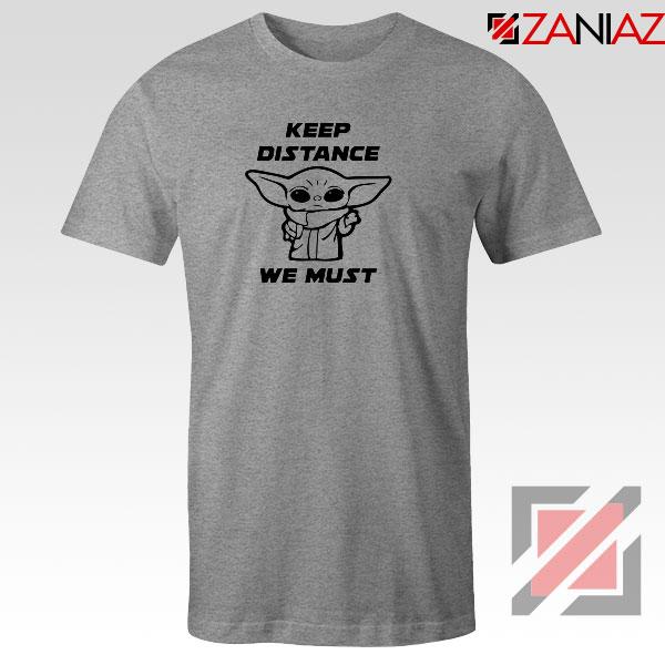 Baby Yoda Keep Distance Sport Grey Tshirt
