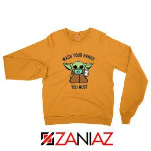 Baby Yoda Wash Your Hands Orange Sweatshirt
