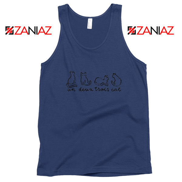 Buy French Cat Navy Blue Tank Top