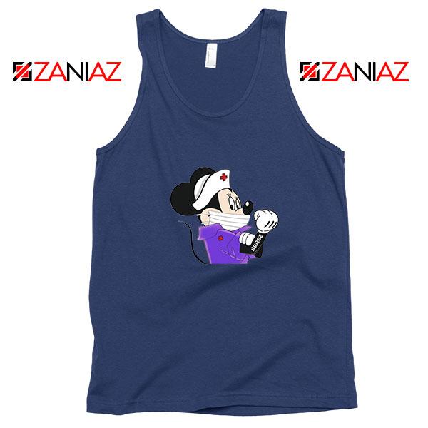 Cute Minnie Mouse Nurse Navy Blue Tank Top