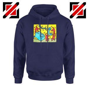 Keith Haring Visual Art Navy Blue Hoodie
