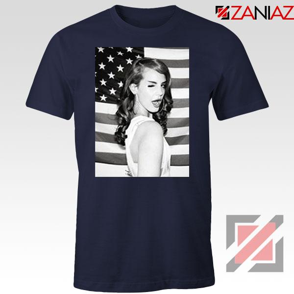 Lana Del Rey American Flag Navy Blue Tshirt