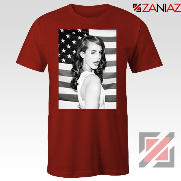 Lana Del Rey American Flag Red Tshirt