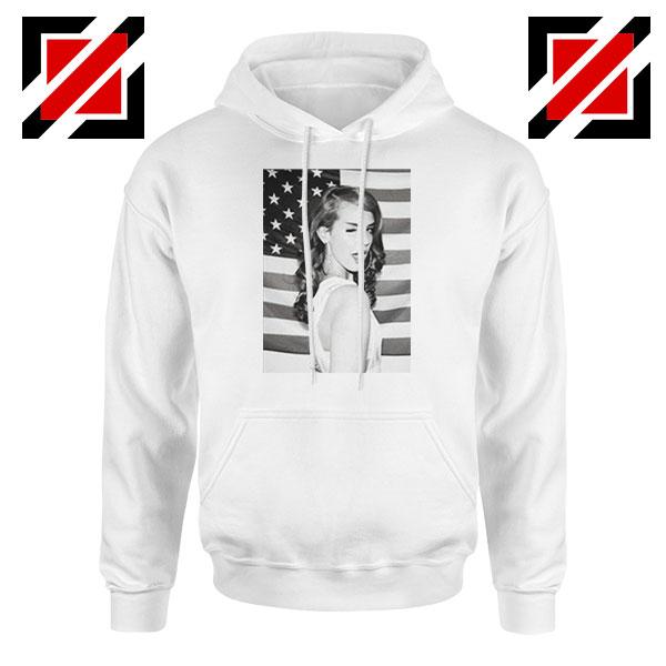 Lana Del Rey American Flag White Hoodie