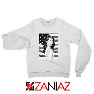 Lana Del Rey American Flag White Sweatshirt