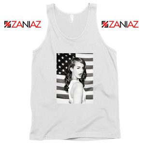 Lana Del Rey American Flag White Tank Top