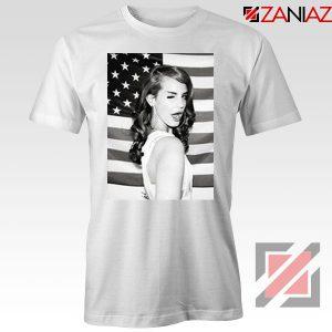 Lana Del Rey American Flag White Tshirt