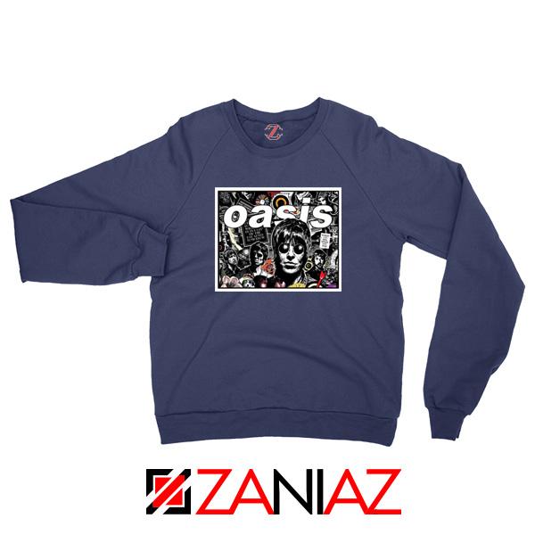 Oasis Band Collage Navy Blue Sweatshirt