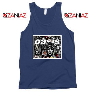 Oasis Band Collage Navy Blue Tank Top