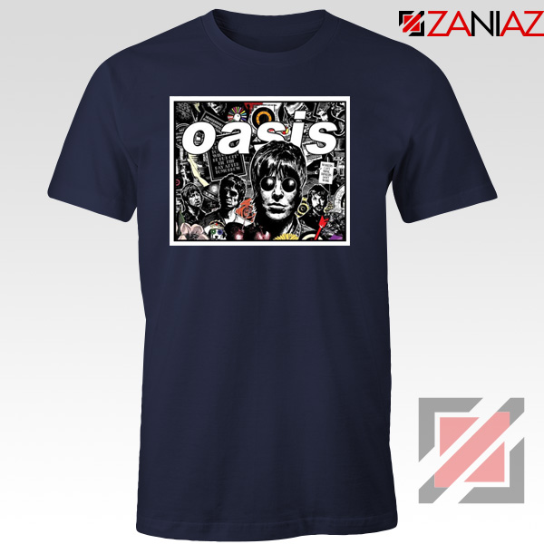 Oasis Band Collage Navy Blue Tshirt