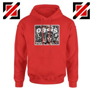 Oasis Band Collage Red Hoodie