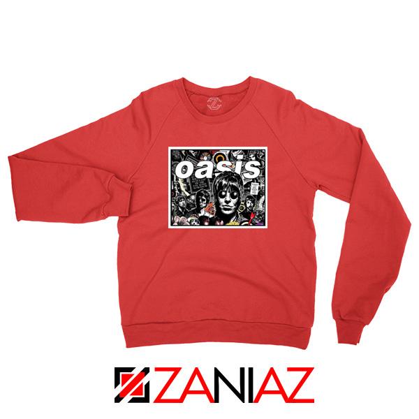 Oasis Band Collage Red Sweatshirt