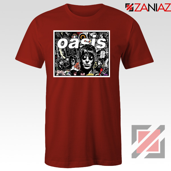 Oasis Band Collage Red Tshirt