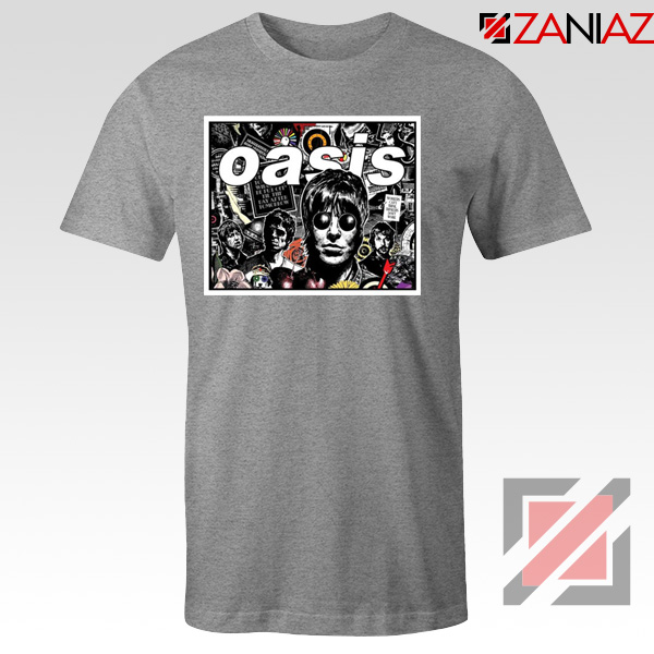 Oasis Band Collage Sport Grey Tshirt