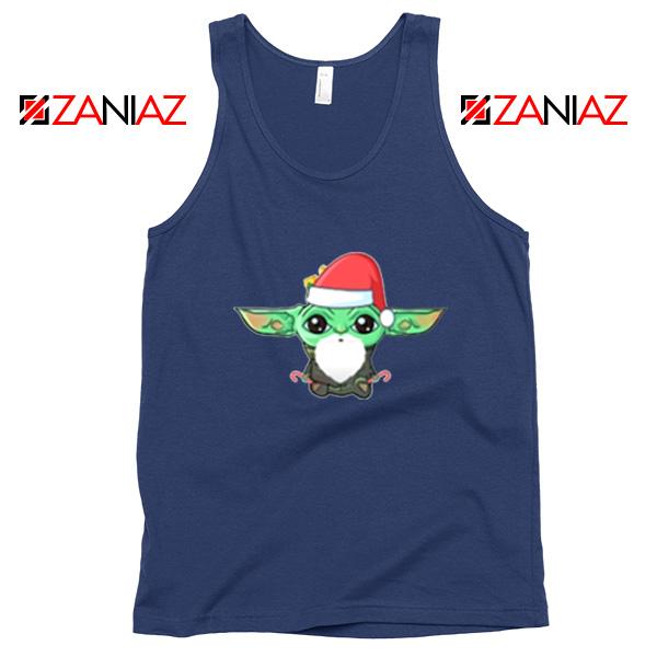 Santa Baby Yoda Navy Blue Tank Top
