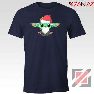 Santa Baby Yoda Navy Blue Tshirt