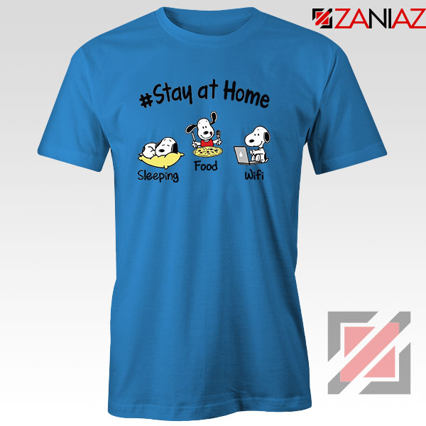 Snoopy Stay Home Blue Tshirt